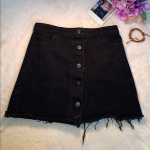 Sadie and Sage Black Denim Button Up Skirt